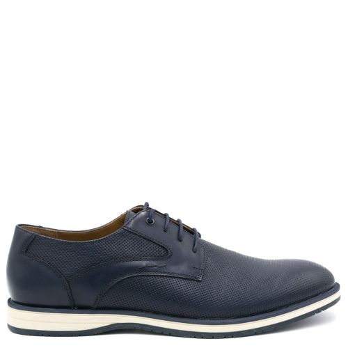 Mens navy leather derby