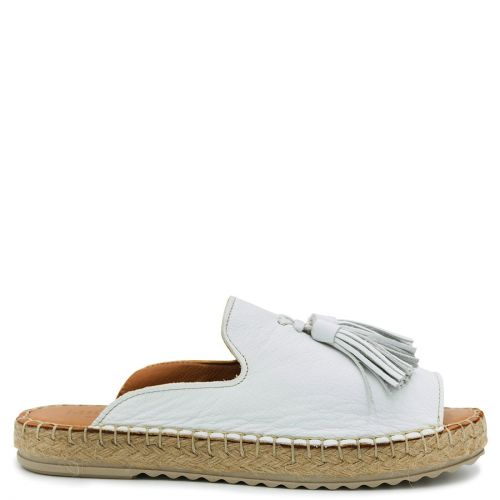 White leather mule espadrille