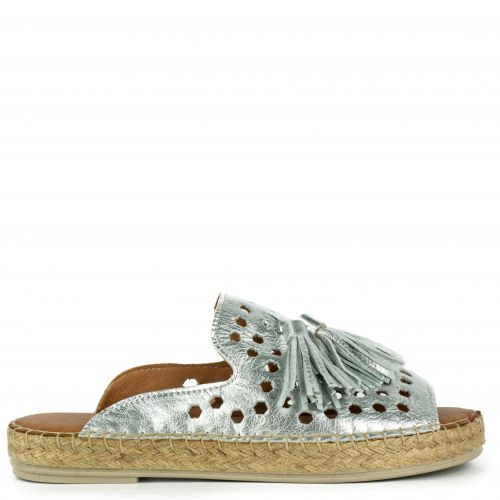 Silver leather perforated espadrille