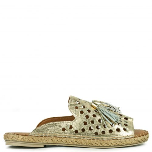 Gold leather perforated espadrille
