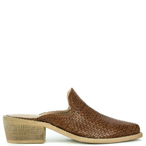 Brown leather mule