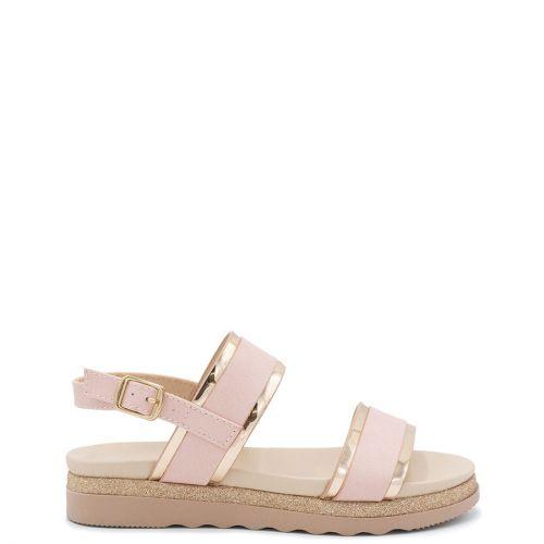 Kid's rose gold sandal with metallic straps