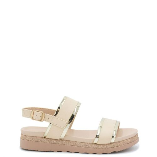 Kid's beige sandal with metallic straps