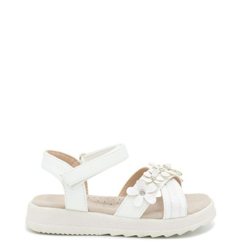 Kid's white sandal with applique flowers