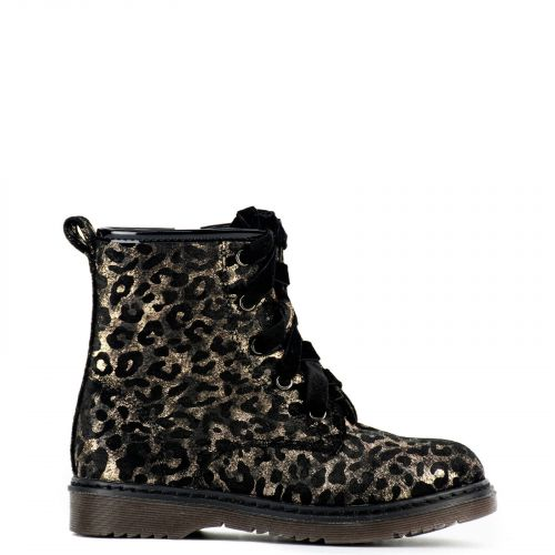 Kid's black animal print bootie