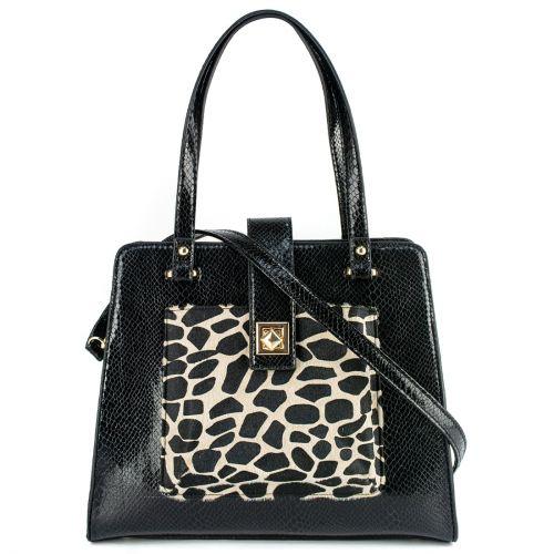 Black snake textured handbag