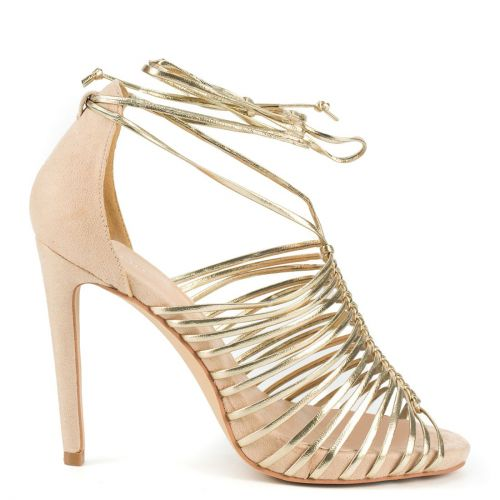 Nude multistrap lace up sandal