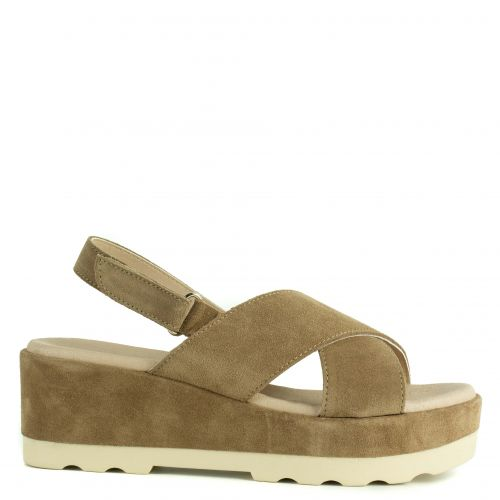 Taupe leather platform