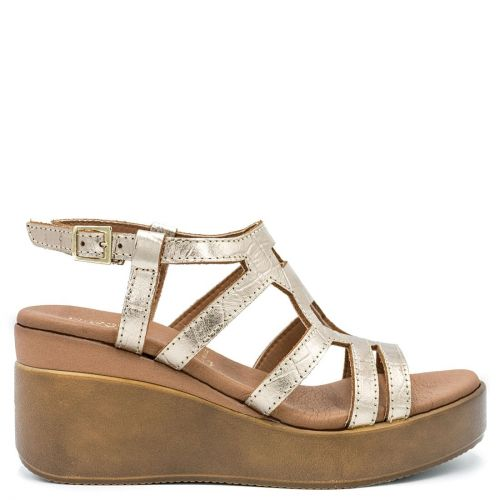 Gold leather wedge