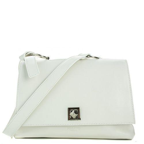 White shoulder bag with flap