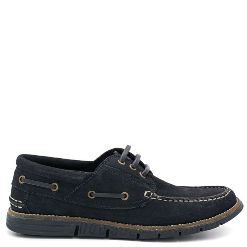 Men's navy suede boat shoe