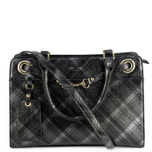 Grey metallic check handbag