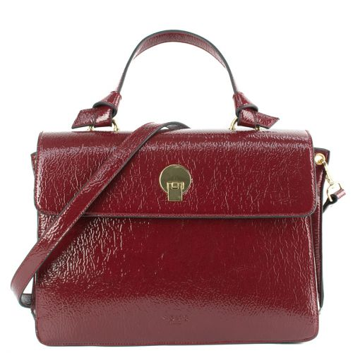 Bordeaux patent bag with flap