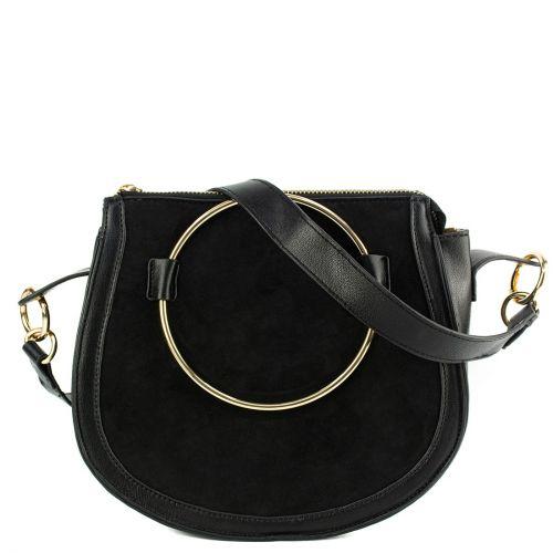Black handbag with metallic hoop