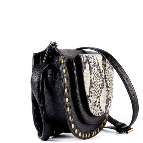 Black crossbody snakeskin textured bag