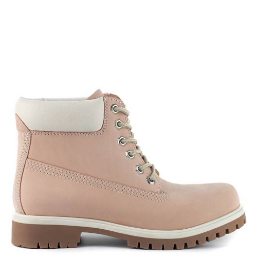 Pink leather hiking boot