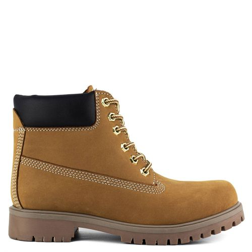 Yellow leather hiking boot