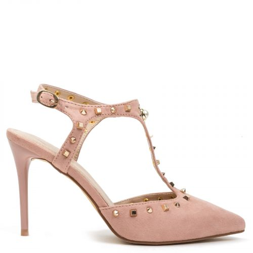 Pink T-strap pump in suede