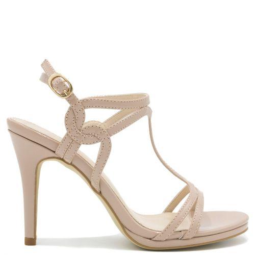 Beige sandal in patent