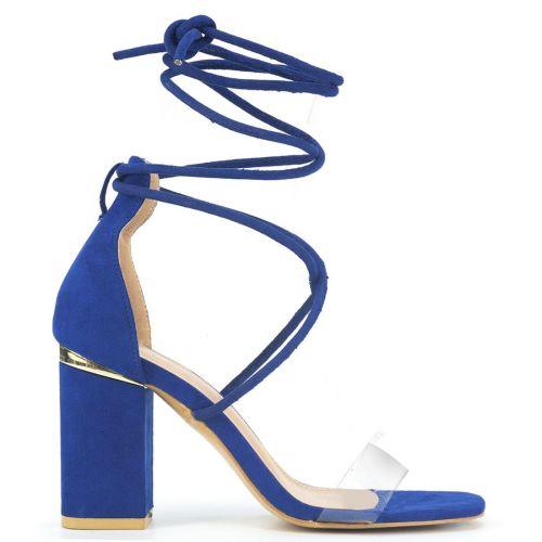 Royal blue suede lace up sandal