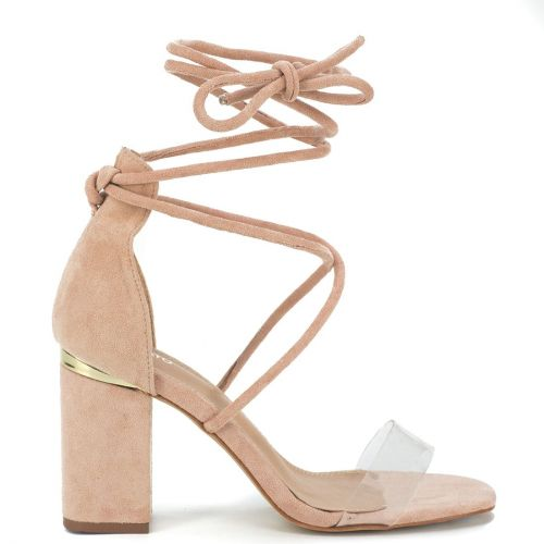 Nude suede lace up sandal