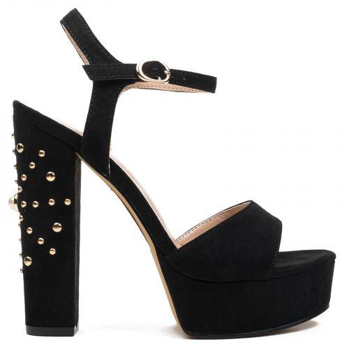 Black suede high heel