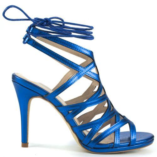 Royal blue metallic spaghetti sandal