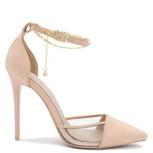 Beige pump with transparency and  chain