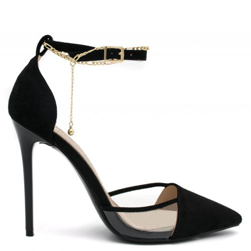 Black pump with transparency and  chain