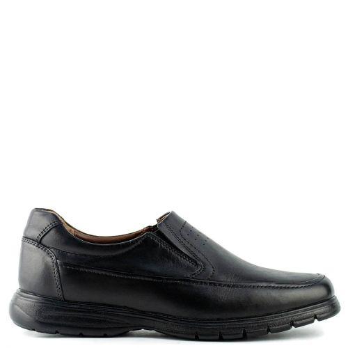 Men's black leather slip-on