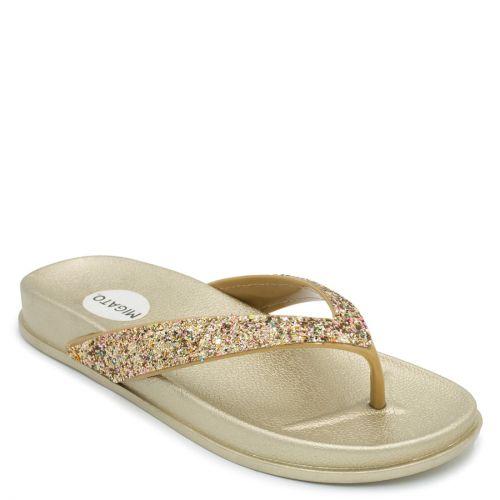 Women's gold flip-flop with glitter