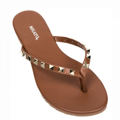 Brown flip flop with studs