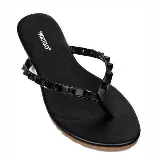 Black flip flop with studs