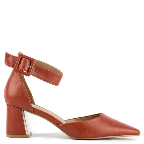 Orange pump with ankle strap