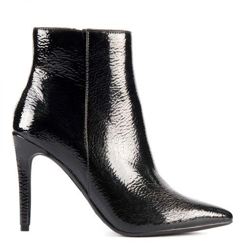 Black patent high heel bootie