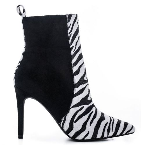 Black and white zebra print high heel bootie