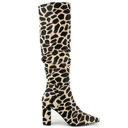 Beige animal print boot