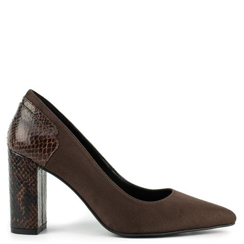 Brown pump with snakeskin detail