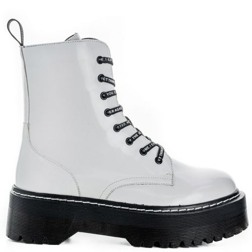 White platform army boot