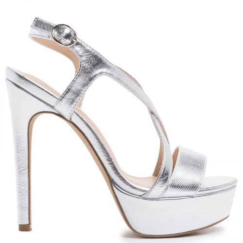 Silver gold multistrap high heel sandal
