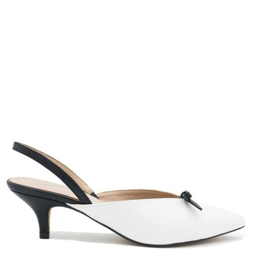 Λευκή εξώφτερνη γόβα kitten heel