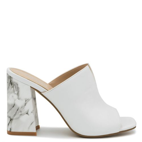 White marble-effect mule