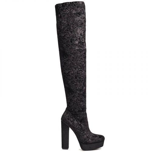 Μαύρη βελούδινη μπότα πάνω από το γόνατο