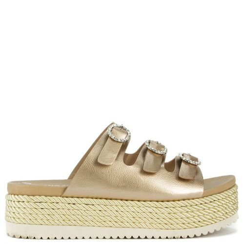 Pink gold flatform with buckles