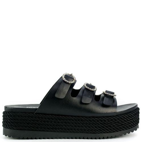 Black flatform with buckles
