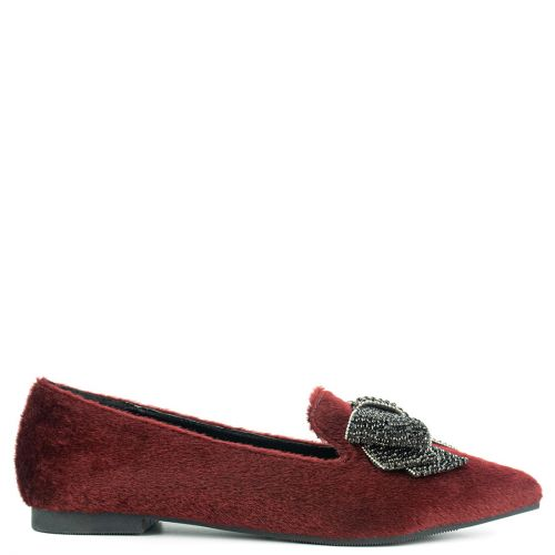 Burgundy loafer with bow