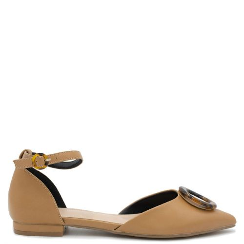Camel ballet flat with buckle