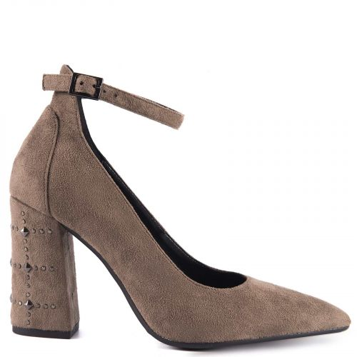 Taupe pump with strap