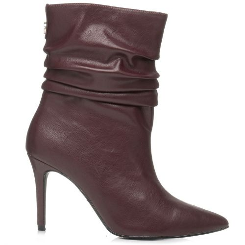 Burgundy high heel bootie