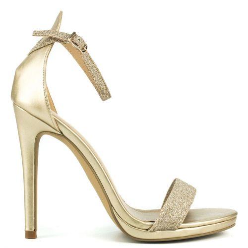 Gold high heel sandal